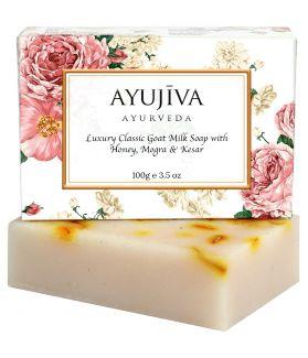 Luxury Classic Goat Milk Soap With Honey,Mogra, Kesar-100 gm (Skin Brightening Soap)