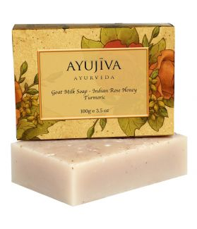 Luxury Classic Goatmilk Soap with Indian Rose,Honey,Turmeric - 100 ge (Skin Brigtening Soap)