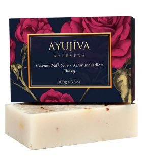 Ayurvedic Coconut Milk Soap with Kesar, Indian Rose, Honey, Sea Salt